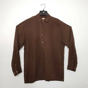 Tommy Bahama Mens Button Front Shirt Brown Long L